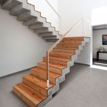 Nice Looking Zig Zag Stringer Glass Railing Prefabricated Wood Straight  Stairs