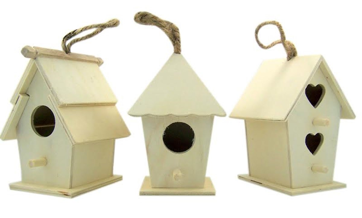 Arts and Crafts Wood Decor Natural Unfinished Wood Birdhouse with Jute Cord to Hang, Set of 3