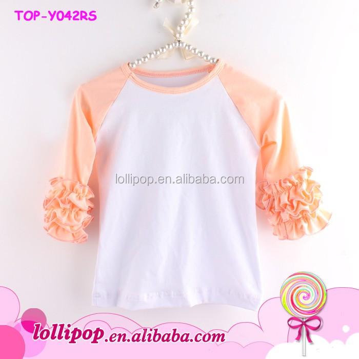 wholesale 3  4 sleeve baseball tee shirts adult ruffle raglan shirt monogram blanks women icing