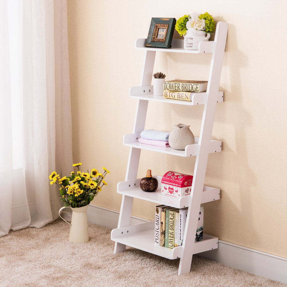 Get Quotations · Space+ White 5 Tier Leaning Ladder Wall Shelf Bookcase  Storage Bookshelf Wood Furniture