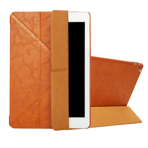 Three folding PU leather book style 12 inch tablet PC cover