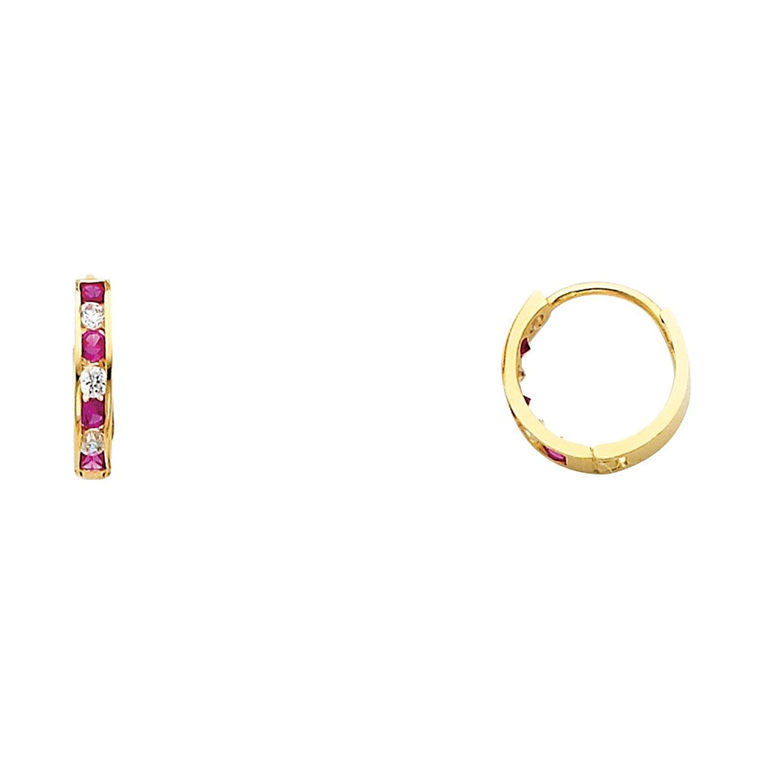 5f7ee65e3 Get Quotations · Solid 14k Yellow Gold CZ Huggie Hoops Earrings Round Red  Huggies CZ Pave Polished Finish Small