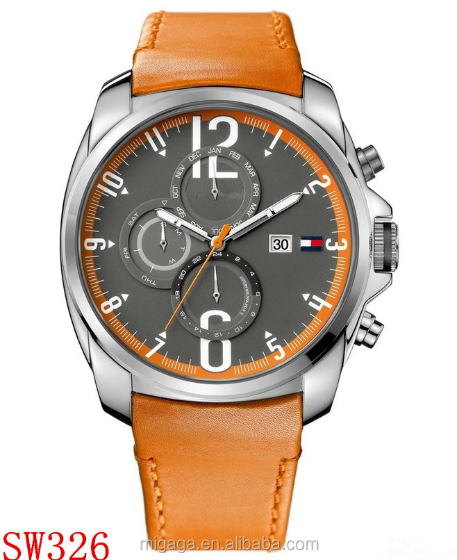 100% Genuine Leather Men Watch Water Proof Calendar Multi Function Quality Watch(small dials