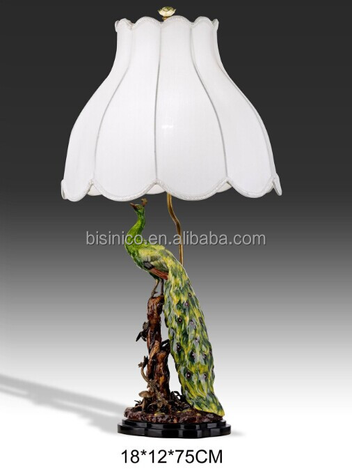 Hand Painted Porcelain Table Lamp With Shade Peacock Shape Porcelain