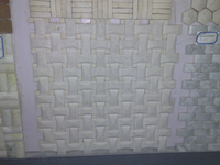 Honed white travertine square mosaic tile