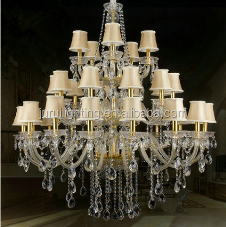 Large lamp traditional big crystal chandelier and pendent light for hotel and banquet hall