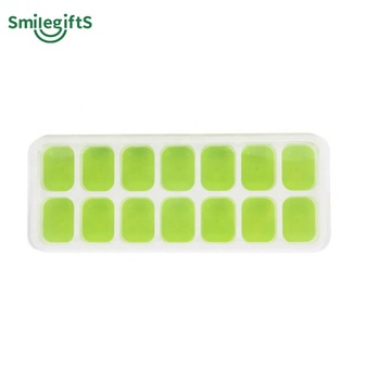 Ice Cube Trays with Lids 2 Pack Food Grade Silica Gel Flexible 14 Ice Trays with Spill-Resistant Removable Lid