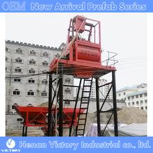 Double horizontal axle forced concrete mixers
