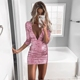 D3073 Deep V Neck Sexy Club Sequin Bodycon Dresses Long Sleeve Sequin Dress