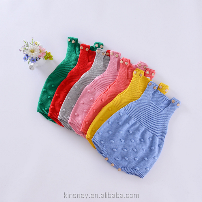 KS10688A Fancy candy color baby girls nice knitted romper new autumn blank baby onesie