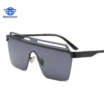97931171ac 2018 trend one piece lens rimless mirrored sunglasses women oversized metal  half frame male sun glasses
