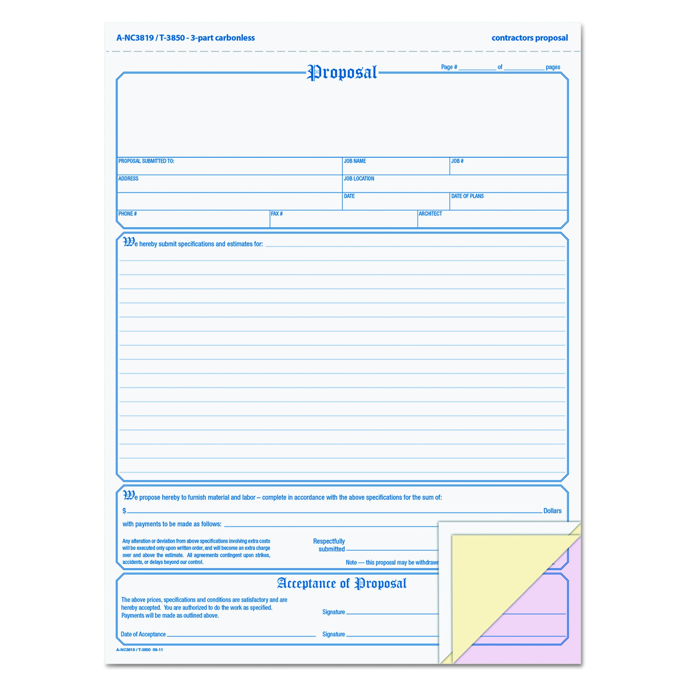 TOPS Proposal Form, 3-Part, Carbonless, 8.5 x 11 Inches, Phantom Rule, 50 Sets per Pack (3850)