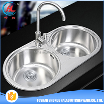 Free Sample Simple Modern Design Stainless Steel Double Bowl Round Kitchen Sink