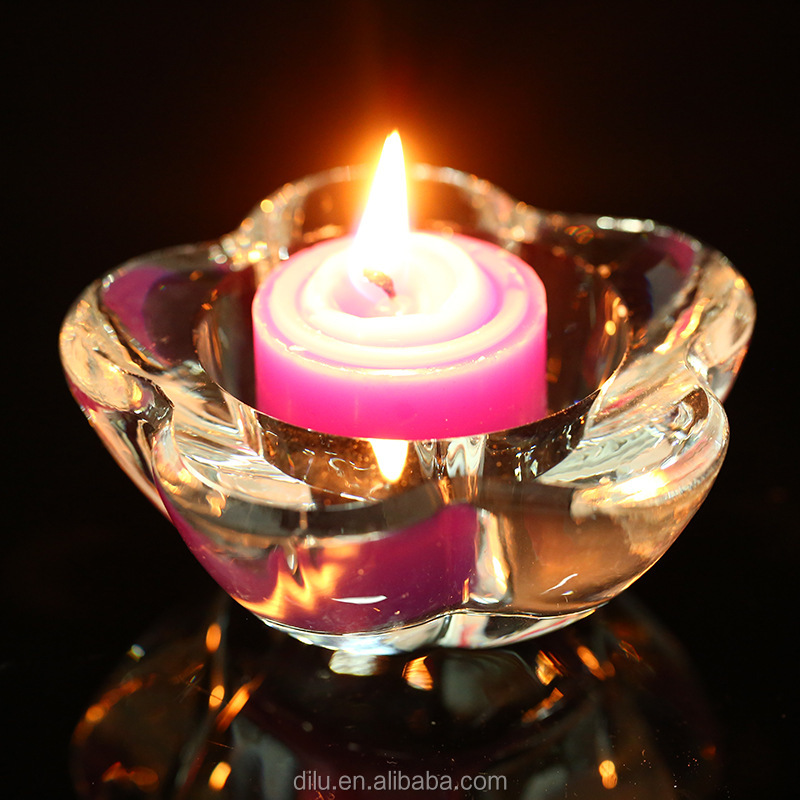 Purple crystal lotus flower candle holder crystal candle jar with base, purple color lotus tealight tall glass candle holder