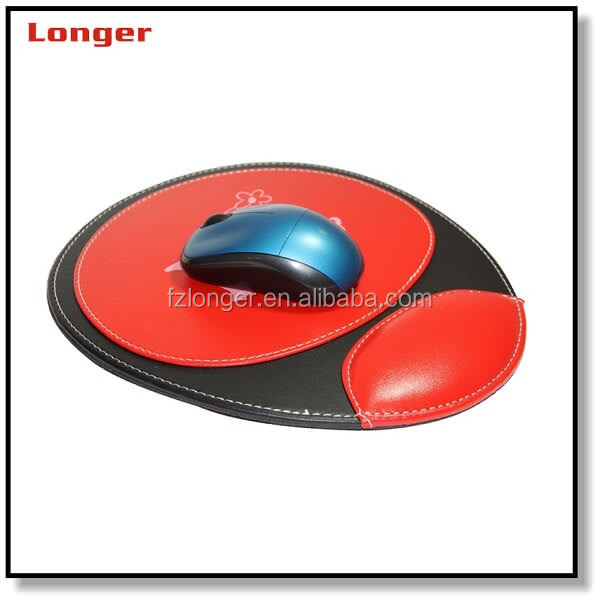 supplier durable orange faux leather mouse pads with arm rest for your office use