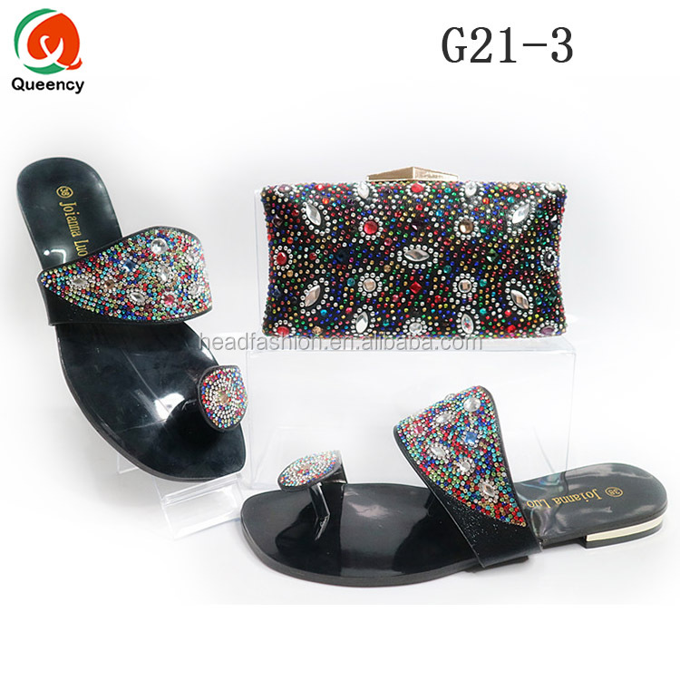 Nigerian 2017 for Queency Shoe Set G21 Match Bag Hot Slippers and Georgous Women Party African ZYxwq