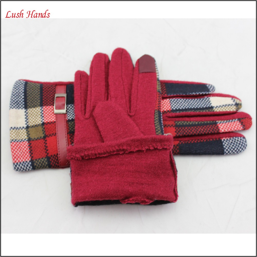 ladies cheap genuine woolen top leather belt gloves