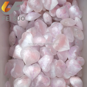 Wholesale Natural rock white selenite hearts healing crystal palm stones