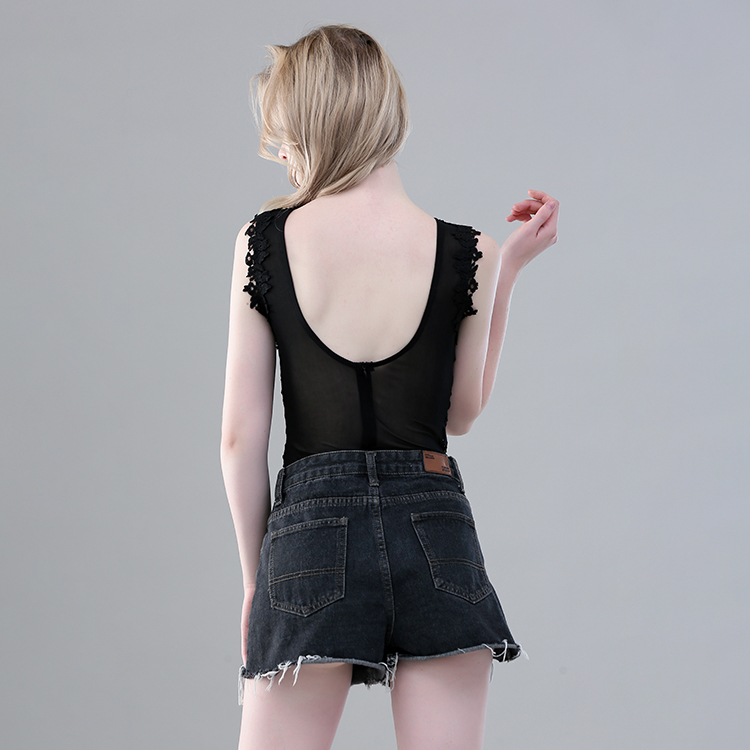 Fashion custom women's lace sleeveless bodysuit sexy slim lace bodysuit