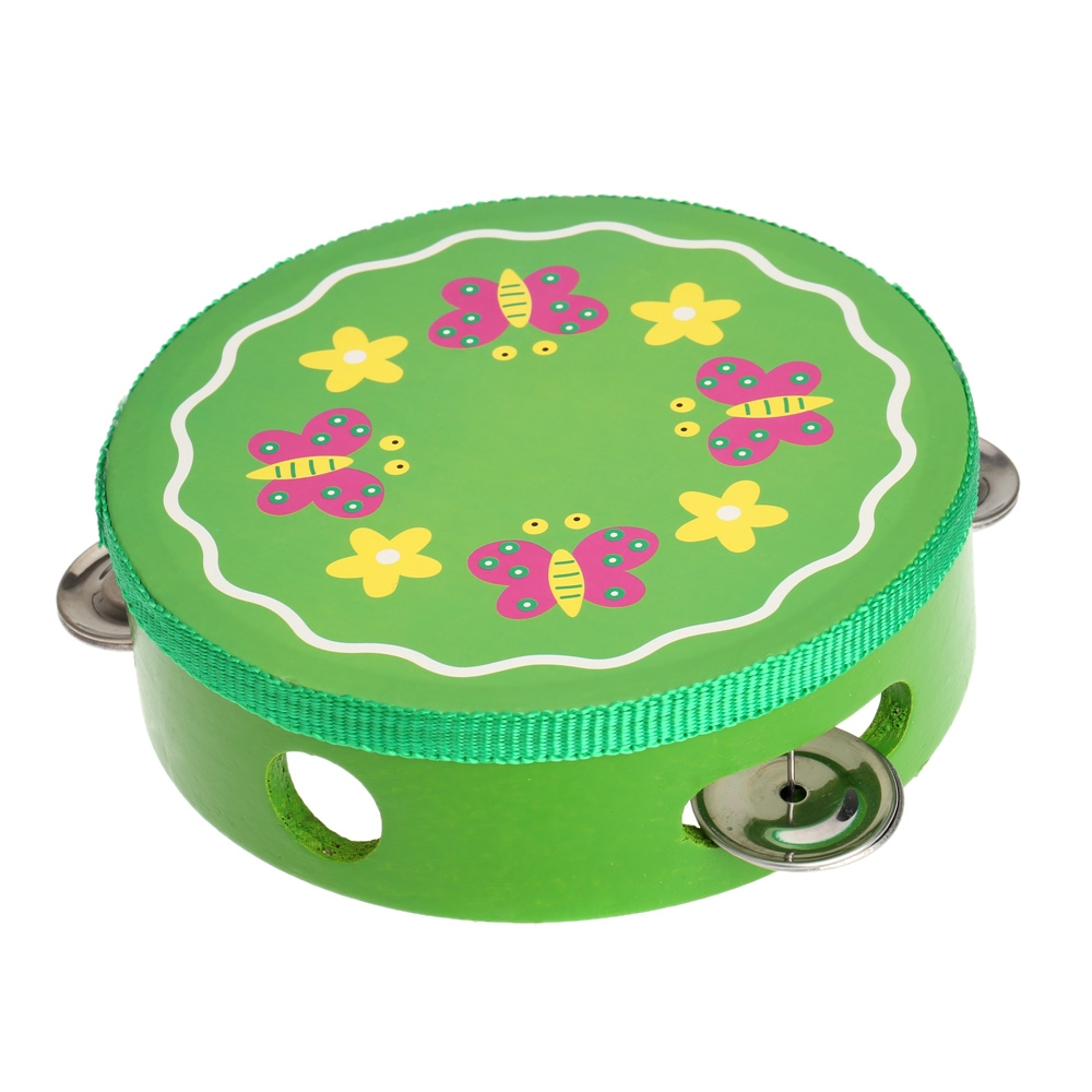 6inch Hand Held Tambourine Drum Bell Metal Jingles Cartoon Pattern Colorful Wooden Percussion Musical Toy for KTV Party Kids Gam