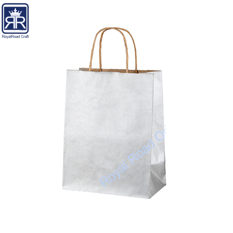 Paper Carrier Bags White Brown SOS Kraft Takeaway Party Lunch Food round Handles