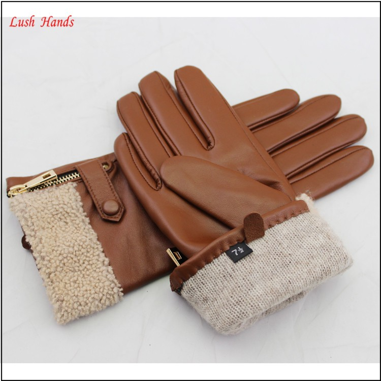 Christmas 2015 best-selling model Brown leather gloves with golden zipper and fake bur fashionable ladies gloves