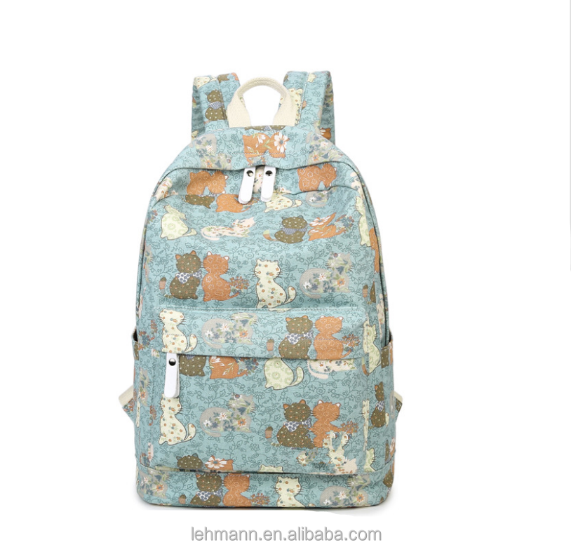 New fashion casual lightweight print student backpack for girls