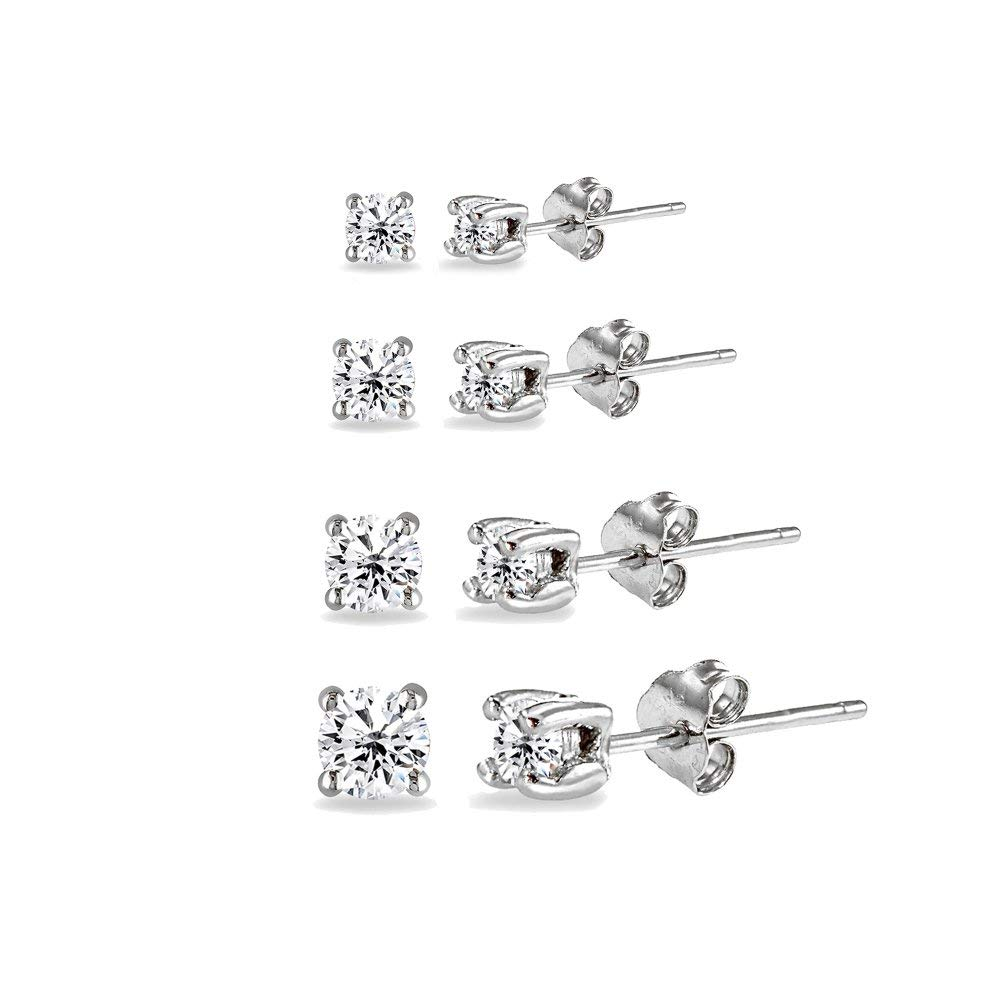 24a0c94eb Get Quotations · 4 Pair Set Sterling Silver Cubic Zirconia Round Stud  Earrings, 2mm 3mm 4mm 5mm