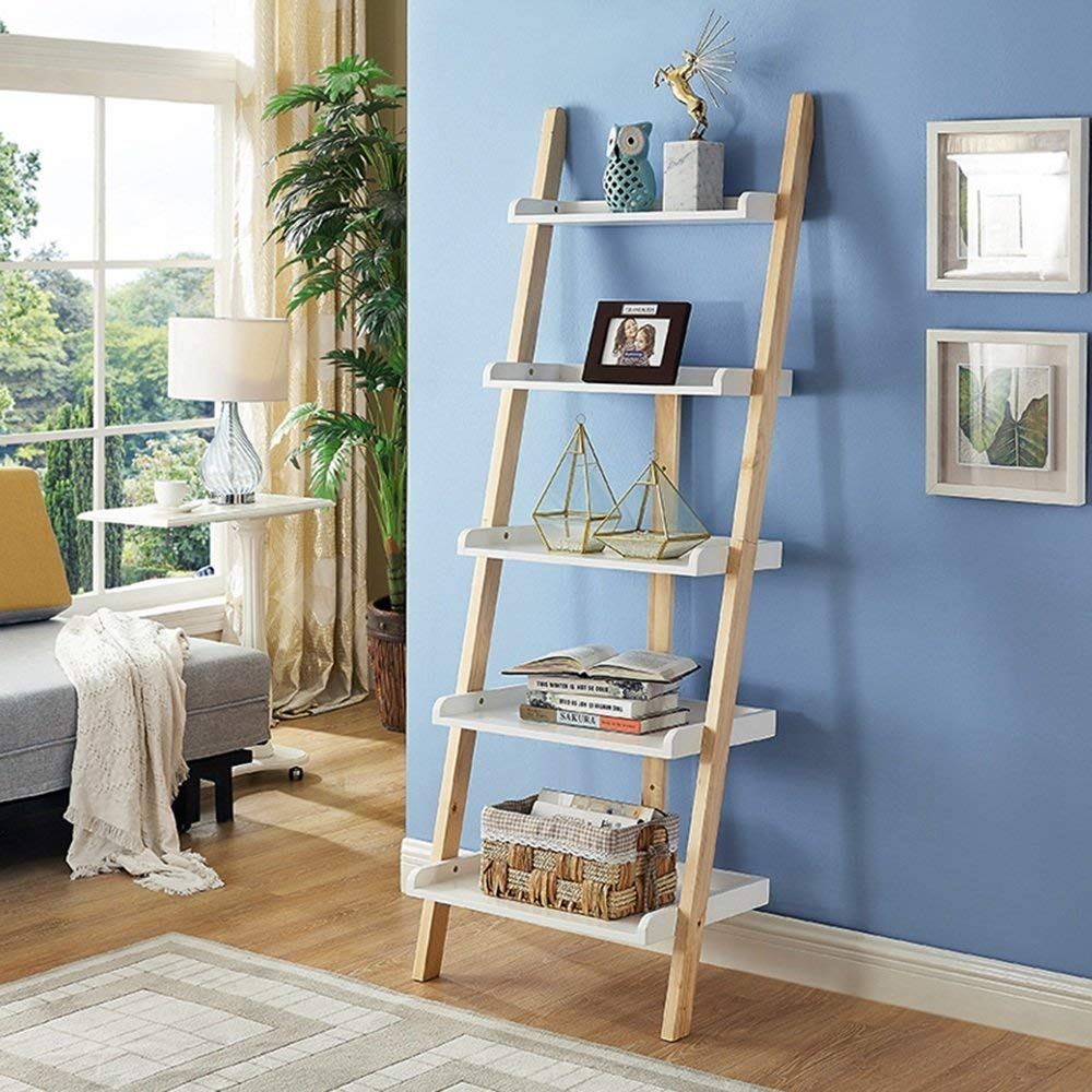 Shelves MEIDUO 5 Leaning Ladder Bookshelf,5 Tiers Bookcase Display Wall Storage Shelf Unit (Color : White+wood color)
