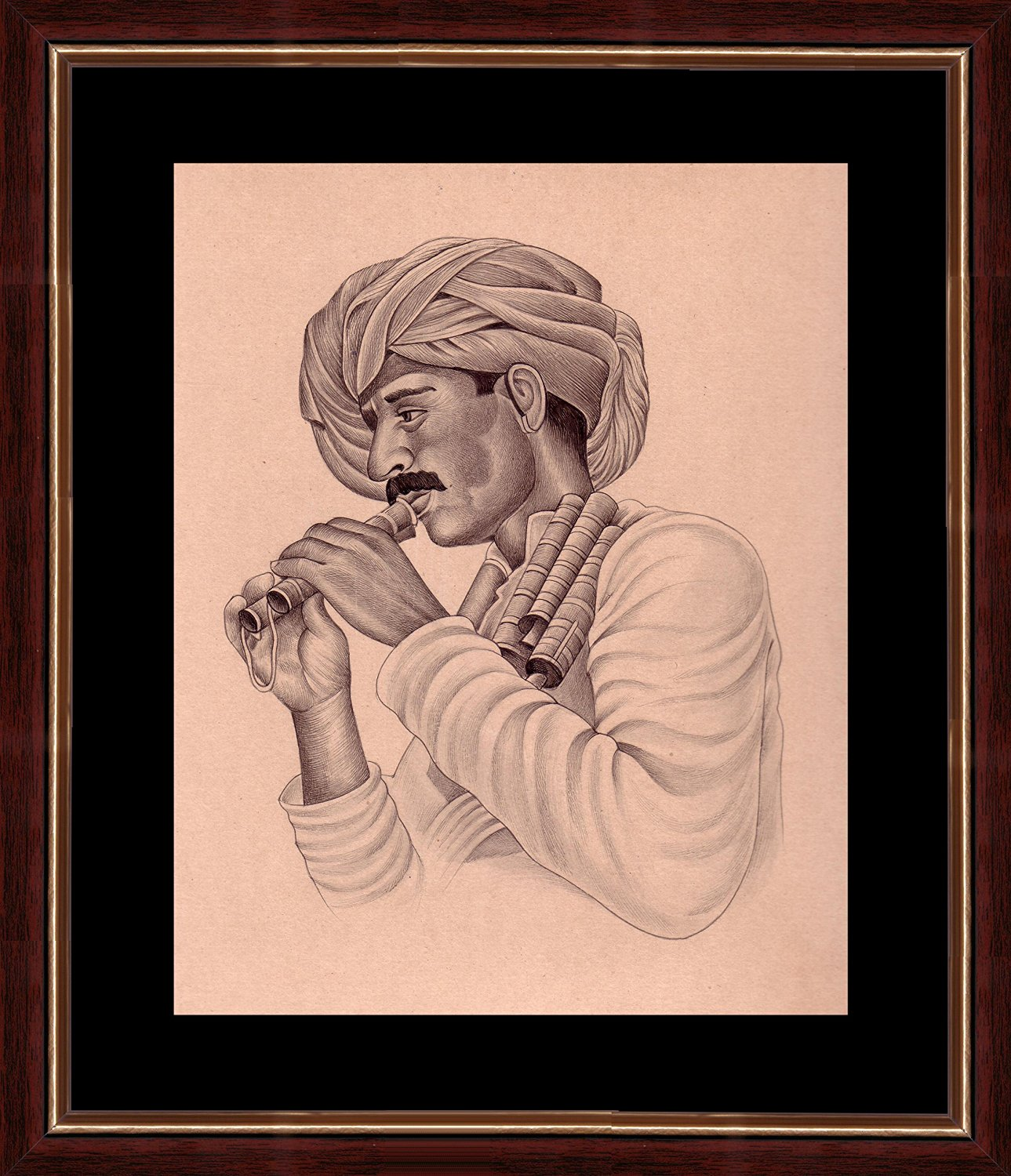 Splendid Indian 19th Century Realistic 'Folk Musician of India - Rajasthani Algoja (Flute) ' Indian Miniature Painting on Handmade Paper with Natural Colours