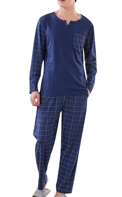 9097807ae3 Get Quotations · ARTFFEL Mens Cotton Plaid Print Long Sleeve Homewear Sleepwear  Pajamas Set
