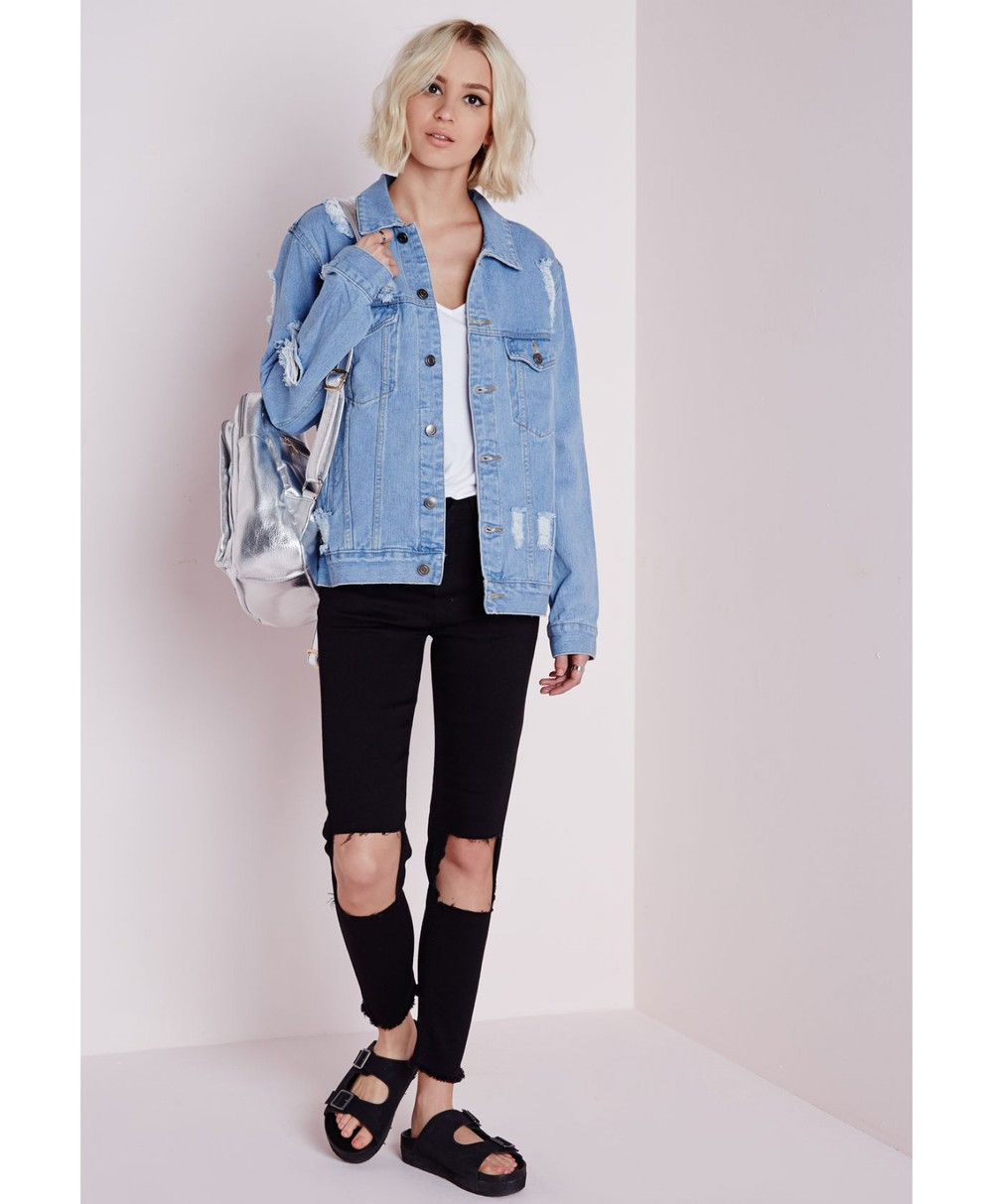 ba3b4a15aa4 Women s Damaged Rip Oversized Denim Jacket   Jeans Coat   Women s Custom Denim  Jacket with ripped