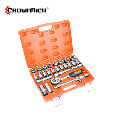 Crownrich 27pcs Professional Hot Sale ratchet extension bar and socket set Tool Set Box Hand Tool Kit
