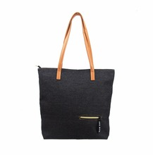 Lady Denim Jean Tote Bag Women's Shoulder Hand Bag with PU Decoration