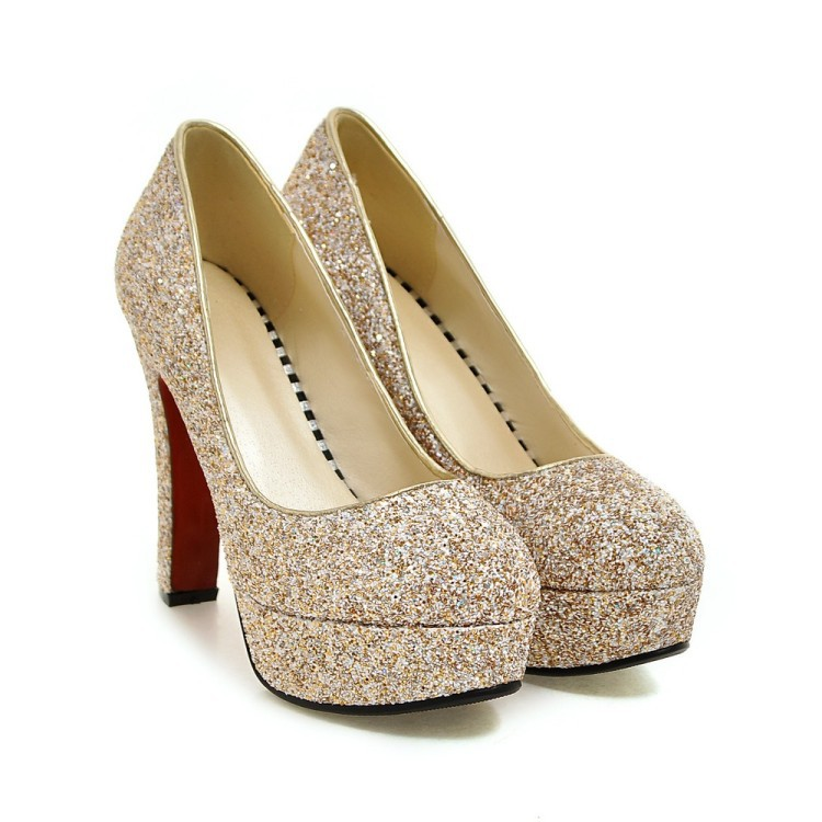 Women Wedding Golden Ladies Dress Shoes Platform <strong>Heels</strong>