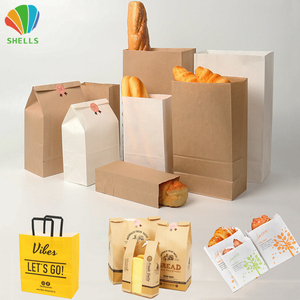 Kraft Package Food Paper Grade Bag Fast For Bread Sandwich Packaging Lunch Burger Fried Cake Pizza Take Away Churros With Window