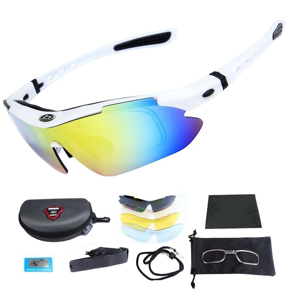 9a925432b2 Get Quotations · Polarized Sports Sunglasses Cycling Glasses - Outdoor  Fishing Driving Tennis Cricket Golf Biking Running Sports Sunglasses