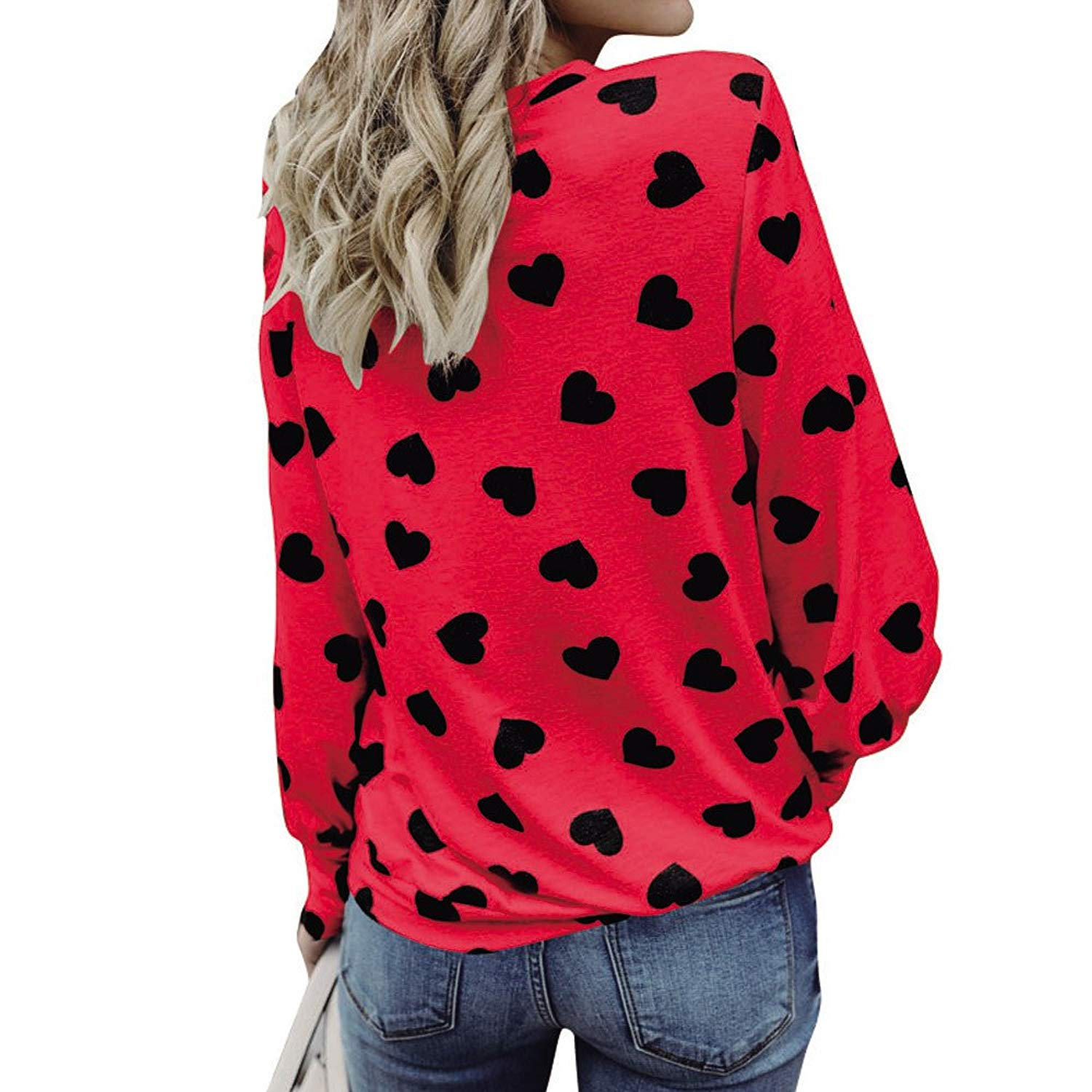 UPLOTER__Shirts Women Love Printing Long Sleeve Crop Jumper Pullover Tops