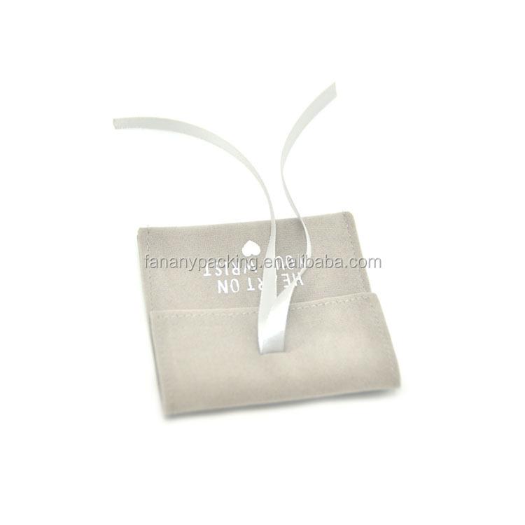 사용자 정의 인쇄 봉투 스웨이드 보석 파우치 리본