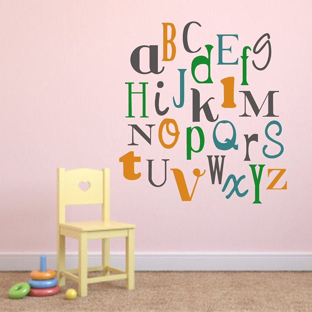 Get Quotations · Playroom Wall Decal Alphabet Vinyl Wall Decal Baby Nursery Wall  Decor Kids Room Home Decor(