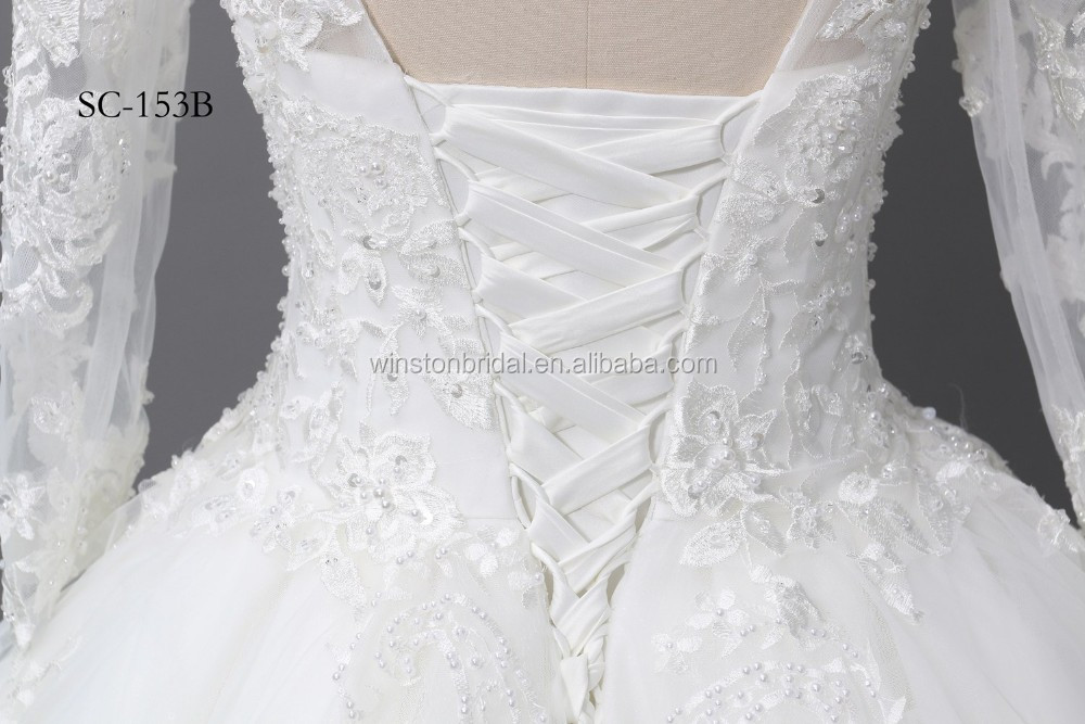 Best Selling Pictures Of Latest Gowns Designswhite Lace V Back 2017