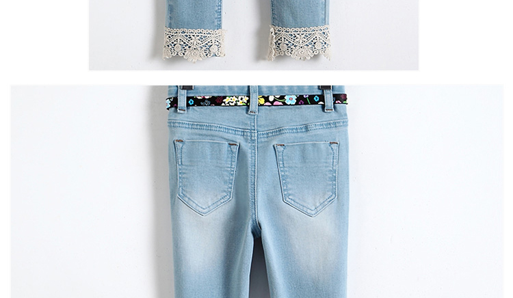 Latest light blue adjustable waist slim fit jeans with Lace on hem for girls
