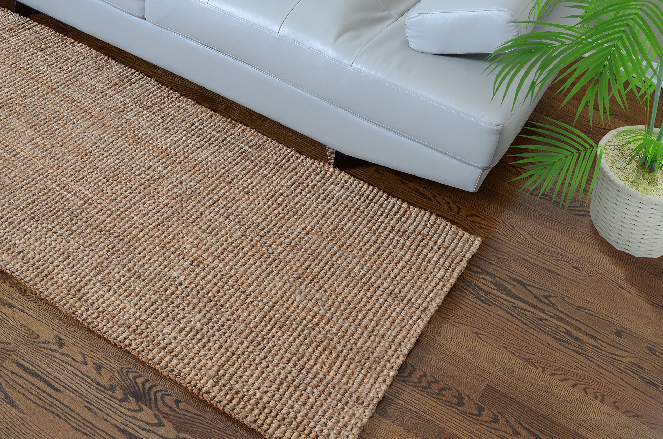 Milliard Handspun 4' x 6' Natural Area Jute Rug, Thick and Sturdy, Beautiful look and Matches all Color Schemes, Environmentally Friendly