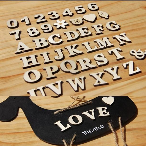 BK1017 Crafts environmental wood system DIY English alphanumeric decorative self - adhesive accessories