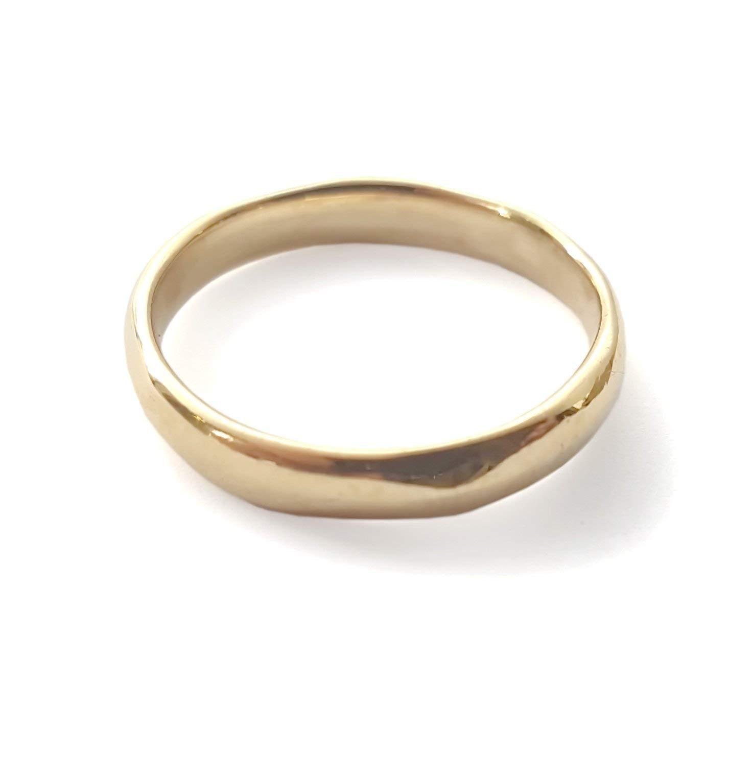 Thin gold band, Simple wedding band, shiny wedding ring, Durable ring, Classic band, Textured 14K gold band, handmade band, Men Woman Organic ring