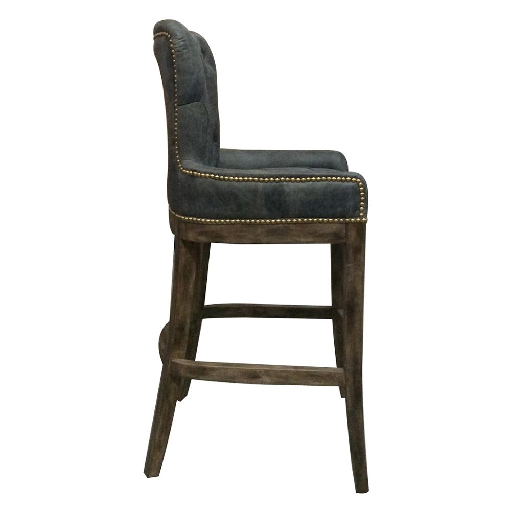 Vintage Industrial Antique Wooden Bar Stools Swivel Bar Chair Pu