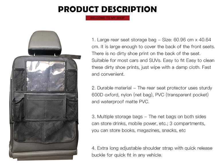Large Capacity Simple 600D Oxford Portable Car Back Seat Organizer