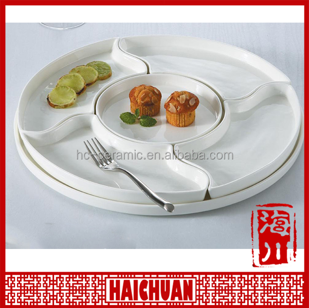 New design white porcelain 5 compartment plate