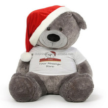 Custom LOGO cute plush grey teddy bear t shirts LOW MOQ cheap 300cm soft plush toy stuffed big giant teddy bear