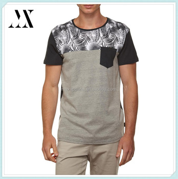 Man Short Sleeve Cotton T Shirt Chest Pocket Design T Shirt Custom